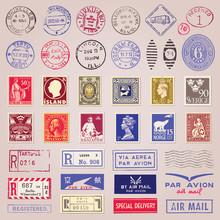 Vintage Postage Stamps, Marks,...