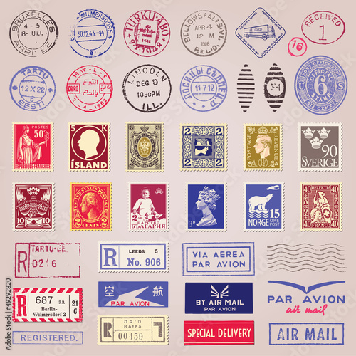 Fotografía  Vintage Postage Stamps, Marks, Stickers Vector Set