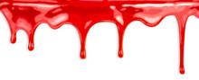 Liquid Red Paint Dripping On W...