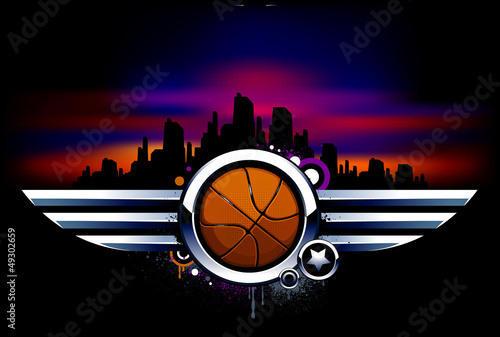 Basketball with metal wings Poster