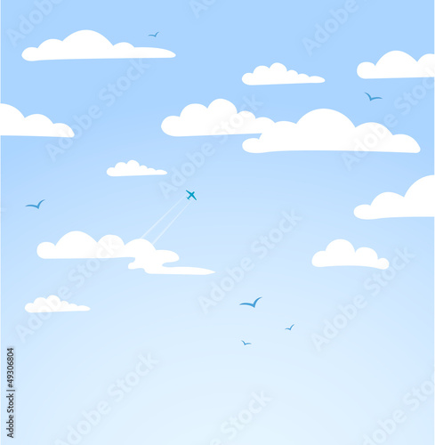 Foto auf Leinwand Himmel Good weather background. Blue sky with clouds