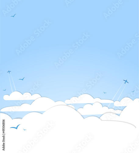 Poster de jardin Ciel Good weather background. Blue sky with clouds