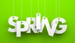 Leinwandbild Motiv Spring word hanging on a strings