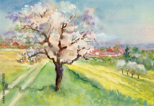 Fotobehang Zwavel geel Watercolor Landscape Collection