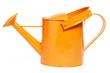 canvas print picture - orangene giesskanne auf weissem hintergrund