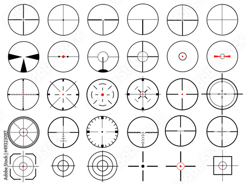 Fotografía  Set of thirty vector cross hairs, isolated on white