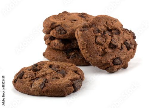Tuinposter Koekjes Chocolate chips cookies isolated on white backgournd