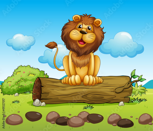 La pose en embrasure Forets enfants A happy lion on a trunk of a tree