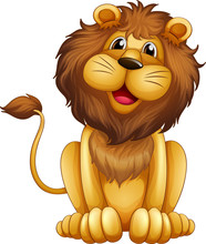 A Happy Lion In A Sitting Posi...