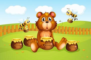 Medvjed i pčele unutar ograde