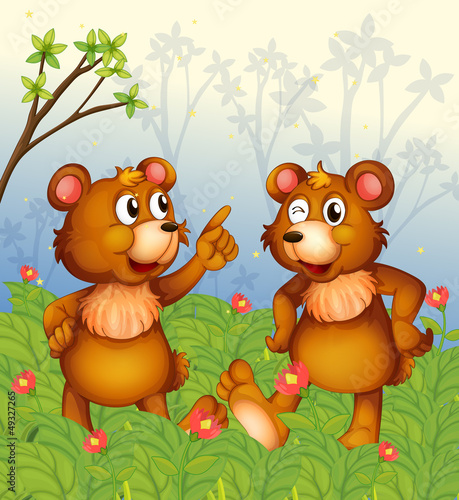 Papiers peints Ours Two bears in the garden