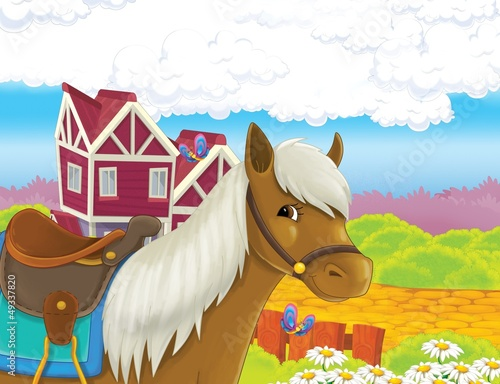 In de dag Boerderij The life on the farm - illustration for the children