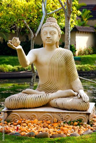 Plissee mit Motiv - Buddha im Lotussitz / Indien