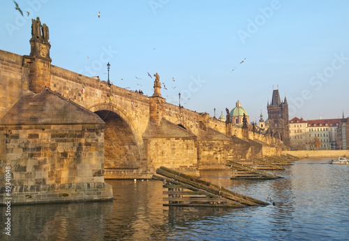 Staande foto Praag Charles Bridge and Vltava river in Prague