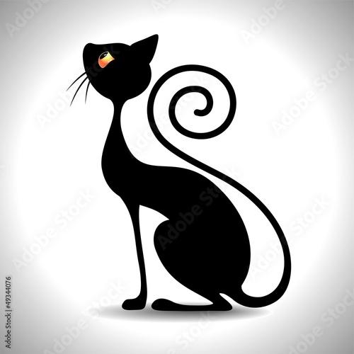 Valokuva  Gatto Nero Art Deco - Black Cat Vintage Art Design-Vector