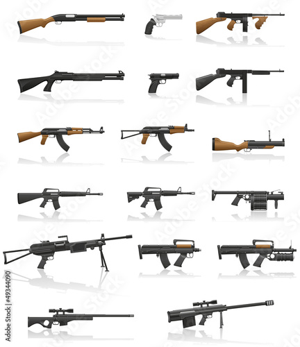 Photo  weapon and gun set collection icons vector illustration