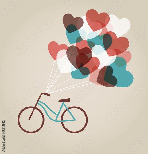 Plakat na zamówienie Valentine's card with tandem bicycle