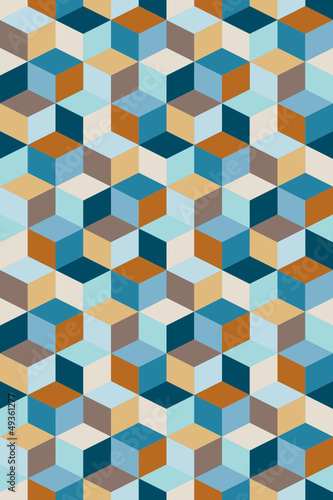 Seamless Pattern Cubes Retro Blue/Brown/Beige - 49361277