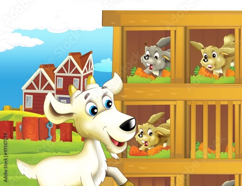 Spoed Foto op Canvas Boerderij The life on the farm - illustration for the children