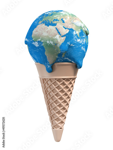 ice cream earth melts - global warming 3d concept