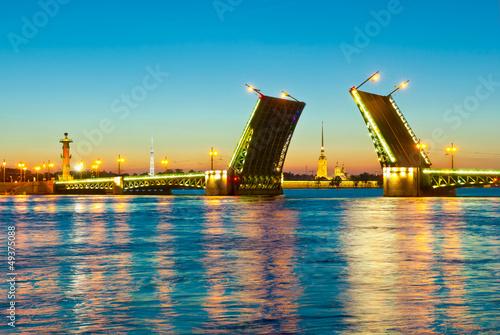 Neva river. Palace bridge. St.-Petersburg, Russia Canvas Print