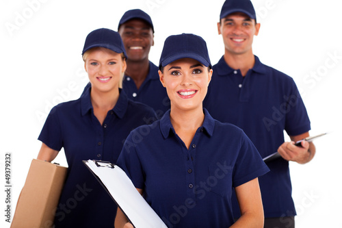 Fotografía  group of delivery service staff half length on white