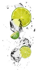 Panel Szklany Limes with ice cubes, isolated on white background
