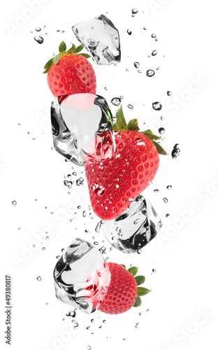 Photo Stands Splashing water Strawberries with ice cubes, isolated on white background