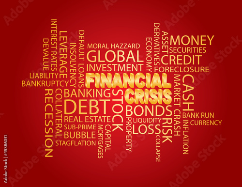 Photo  Financial Crisis Word Cloud Red Background