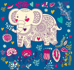 Fototapeta Słoń Vector holiday illustration with elephant