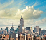 Wonderful view of Manhattan Skyscrapers with beautiful sky color - 49388253