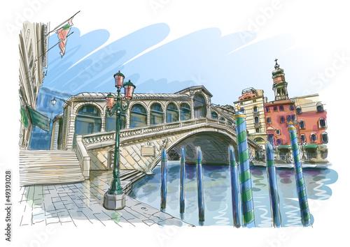 Fototapeta na wymiar Venice - Grand Canal. Rialto Bridge.