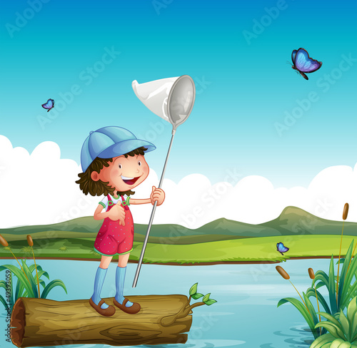 Canvas Prints River, lake A girl catching butterfly