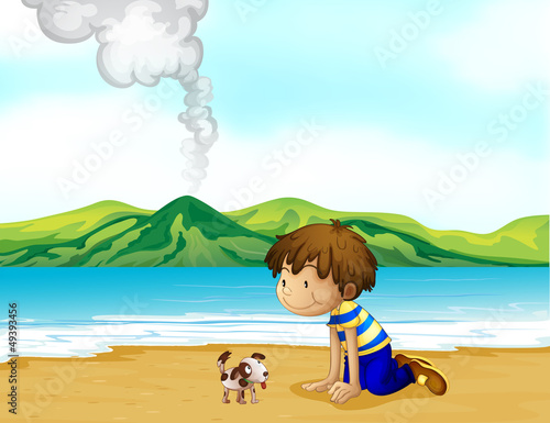 Tuinposter Honden A little boy and his pet at the beach