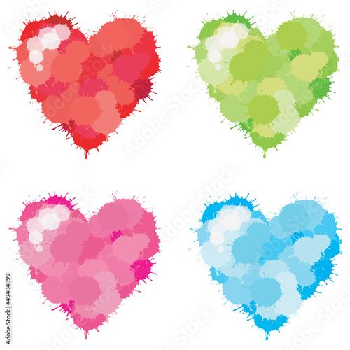 Fotobehang Pixel Color Splatter Heart set