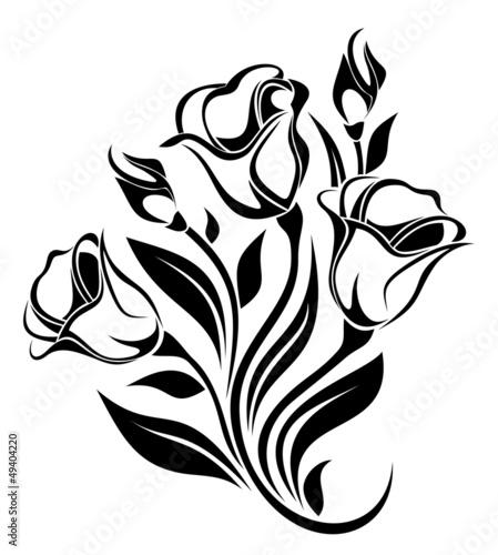 czarna-sylwetka-ornament-kwiatow-ilustracji-wektorowych