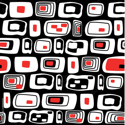 Acrylic Prints Red, black, white Seamless abstract pattern