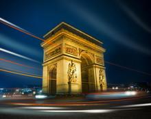 Arc De Triomphe By Night, Pari...