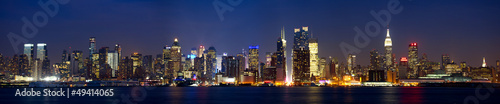 Poster New York Manhattan skyline panorama at dusk, New York City