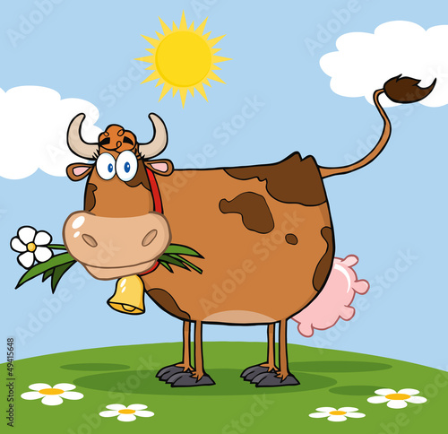 In de dag Boerderij Brown Dairy Cow With Flower In Mouth On A Meadow