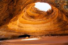 Famous Cave At Benagil Beach In Algarve Portugal