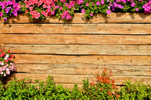 Wooden Fence Background With Red And Pink Flower