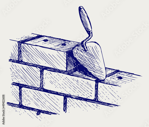 Fotografia, Obraz  Trowel and bricks. Doodle style
