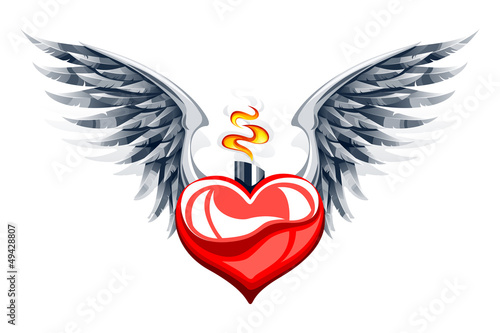 Vector illustration of glossy heart with wings and flame
