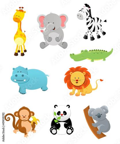 Poster de jardin Zoo Safari Animal Set