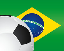 Flag Of Brazil With Soccer Ball.