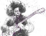 gitarzysta - ręcznie rysowane ilustracja do wektora - 49444463