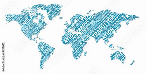 Fotografía  Multilingual translation world map concept