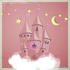 Vector illustration of a princess castle at night