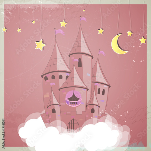 Spoed Foto op Canvas Pony Vector illustration of a princess castle at night